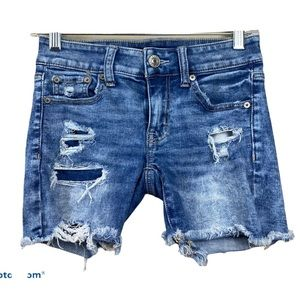 American eagle midi distressed denim shorts 0